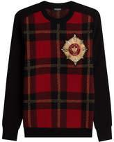 Balmain Printed Merino Wool Pullover with Embellished Motif