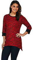 As Is Denim & Co. Active 3/4 Sleeve Dot Printed Trapeze Hem Top