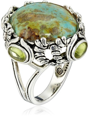 Barse Sterling Silver and Patagoniac Turquoise Peridot Ring Size 7