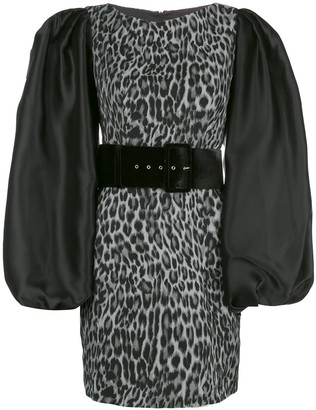 Rasario Puff Sleeve Leopard Print Dress