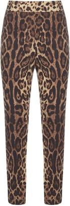 Dolce & Gabbana Leopard Print Silk Leggings