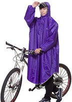 Liveinu Adult Bicycle Bike Rain Coat Extended Hooded Rain Poncho with Snaps Light Purple 3XL