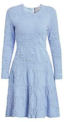 Lela Rose Women's Textured Knit Long-Sleeve Dress