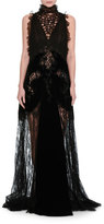 Valentino Lace & Chiffon Mock-Neck Gown with Velvet Trim, Black