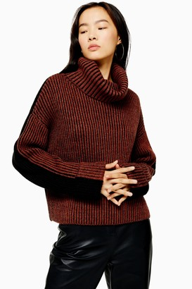 Topshop Womens Roll Neck Jumper With Wool - Brick
