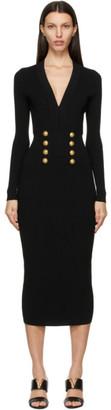 Balmain Black V-Neck 8-Button Dress