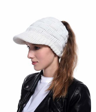 LERTREE Women's Winter Beanie Cap with Brim Ponytail Hat Solid Knitted Warm Cable Newsboy Cap Visor (White)