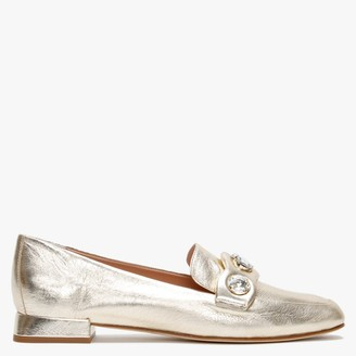 Daniel Natalie Gold Leather Jewelled Loafers