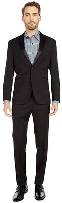 Kenneth Cole Reaction Slim Fit Notch Lapel Tuxedo w/ Stretch (Black) Men's Coat