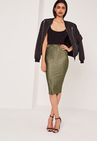 Missguided Crinkle Midi Skirt Khaki