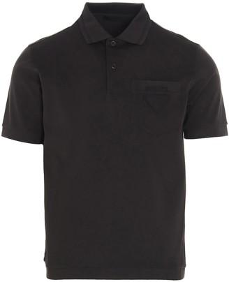 Prada Triangle Logo Pique Polo Shirt