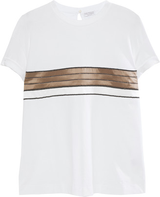 Brunello Cucinelli Bead-embellished Striped Silk-satin And Cotton-jersey T-shirt