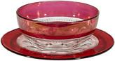 One Kings Lane Vintage King's Crown Salad Bowl & Plate - Set of 2 - 2-b-Modern - cranberry/clear