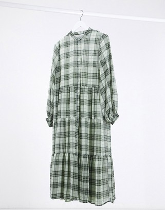 Minimum smock midi dress in green check