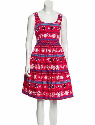 Prada Printed Knee-Length Dress Red