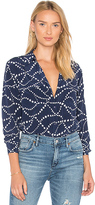 Equipment Abstract Signature Button Up in Navy