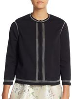 Giambattista Valli Mesh-Trim Long-Sleeve Cardigan