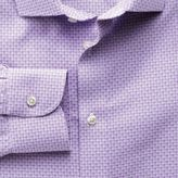 Charles Tyrwhitt Extra slim fit semi-cutaway collar non-iron business casual grid check lilac shirt