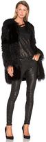RtA Guinevere Faux Fur Coat in Black
