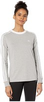 adidas 3-Stripes Long Sleeve Tee (Lush Red/White) Women's Long Sleeve Pullover