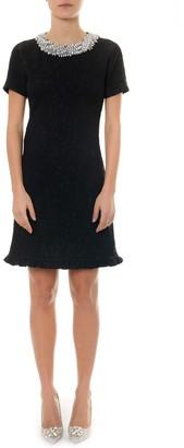 Miu Miu Black Cloque Dress With Crystals