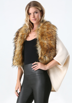 Bebe Faux Fur Collar Ruana
