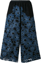 Antonio Marras floral embroidery cropped trousers - women - Cotton/Polyamide/Polyester/Spandex/Elastane - 0