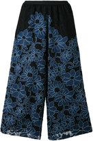 Antonio Marras floral embroidery cropped trousers - women - Cotton/Polyester/Polyamide/Spandex/Elastane - 0