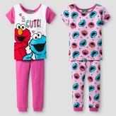 Sesame Street Toddler Girls' 4-Piece Pajama Set - Pink