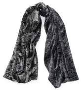 Ralph Lauren Paisley Burn-Out Velvet Scarf Black One Size