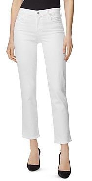 J Brand Adele Straight Ankle Jeans in Blanc