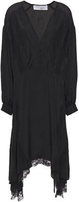 IRO Asymmetric Pintucked Lace-paneled Crepe De Chine Dress