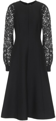 Valentino embellished wool-blend midi dress