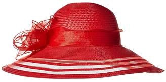 San Diego Hat Company DRS1011 Derby Dress Hat with Organza Bow (Red) Traditional Hats