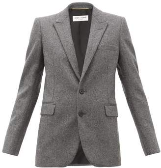 Saint Laurent Single-breasted Wool Blazer - Womens - Grey