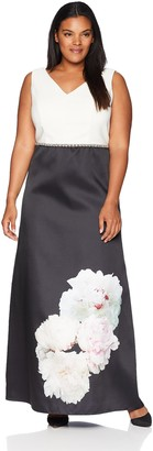 Ignite Women's Plus Size Sleeveless Gown with Floral Placement Print Skirt Dress