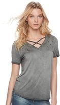 Rock & Republic Women's Crisscross Stud Tee