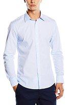 Benetton Men's Blue Striped Long Sleeve Casual Shirt