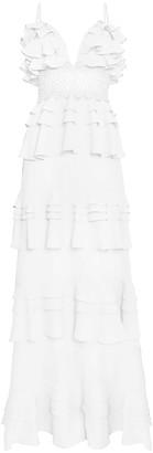 True Decadence White Cotton Tiered Ruffle Maxi Dress