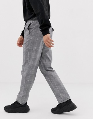 Asos Design DESIGN relaxed trousers in grey check with utility belt