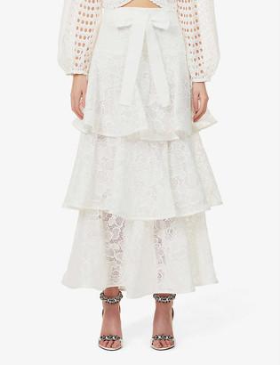 Zimmermann Lovestruck floral-pattern high-waist cotton-lace maxi skirt