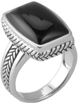 Barse Women's Sterling Silver Onyx Roped Ring SR3499X