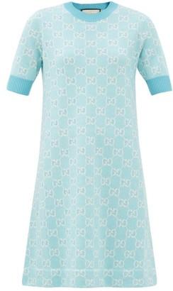 Gucci GG-jacquard Wool-blend Mini Dress - Blue White