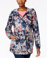 Charter Club Petite Printed Packable Hooded Utility Raincoat, Only at Macy's