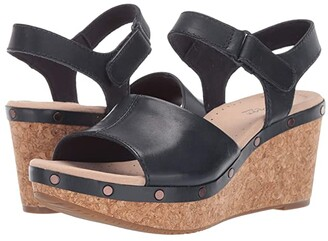 Clarks Annadel Clover (Navy Leather) Women's Wedge Shoes