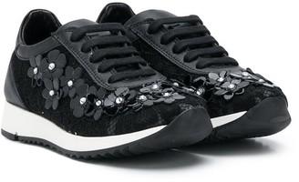 Andrea Montelpare Floral Applique Sneakers