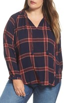 Lucky Brand Plus Size Women's Plaid Cotton Peasant Top