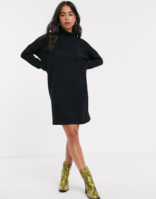 Noisy May roll neck mini knitted jumper dress-Black