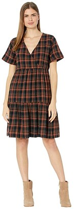 Madewell Short Sleeve Tiered Faux Wrap Mini Dress in Plaid (Fuller Plaid Warm Umber) Women's Dress