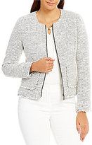 Ivanka Trump Metallic Tweed Frayed Hem Jacket